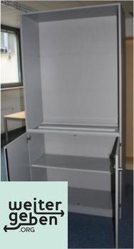 Stuttgart, Lichtgrauer Büroschrank 1 x 100x40x210 cm Oben offen, unten mit Türen Mehrere Einlegeböden verfügbar Kein Schlüssel mehr vorhanden Guter Zustand