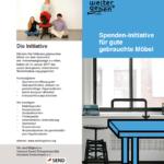 Flyer von WeiterGeben.org, einer Spendeninitiative für gemeinnützige Organisationen explizit für Büromöbel