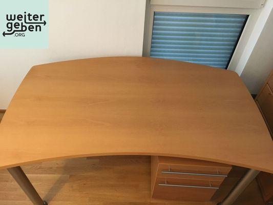 Spende: Schreibtisch 150 x 80 x 75 cm mit Container mit 1 Schublade und Hängeregistratur in Heppenheim