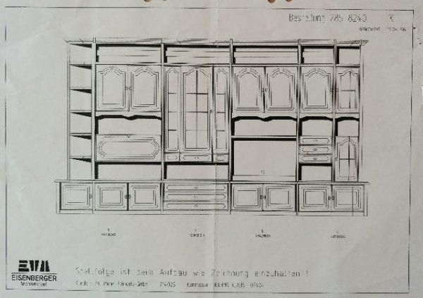 Skizze Schrankwand 4,4m vom Hersteller: Eisenberger Wohnmöbel