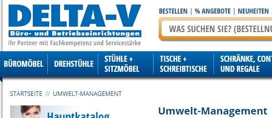 screenshot delta-v Homepage Umwelt-Management
