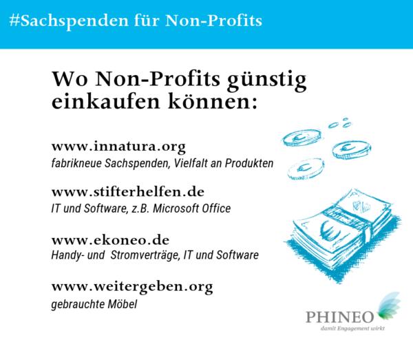 Sachspenden und Rabatte für Gemeinnützige Vereine und NGOs