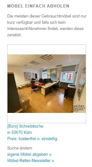 zu sehen: Ausschitt einer Homepageansicht welche Gebrauchtmöbel im Raum Köln anzeigt
