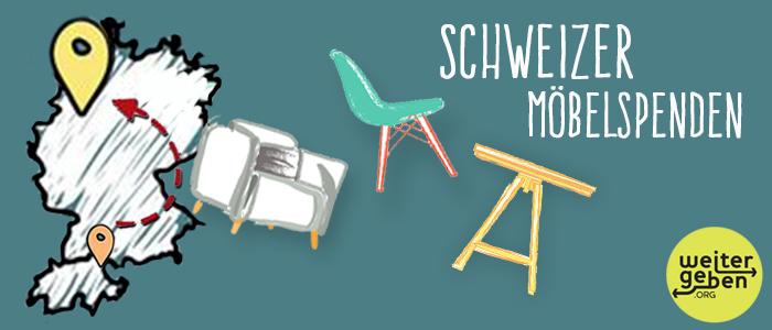 man sieht: Pfeil von der Schweiz nach Deutschland und mehrere gezeichnete Möbelstücke