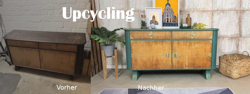 ein vorher/nachher Foto vom Möbelupcycler diekleinezeitmaschine aus Hilden