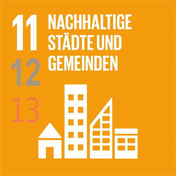zu sehen: Text: Nachhaltige Städte und Gemeinden = Punkt 11 der Vereinten Nationen Nachhaltigkeitsziele Zeichnung: mehrere Gebäude