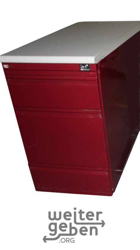 zu sehen: ein roter Standcontainer aus Metall mit 4 Schubläden und oben weißer Platte